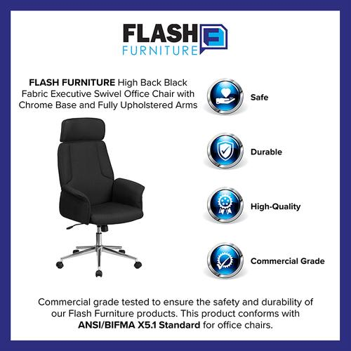 Gallery - High Back Black Fabric Executive Swivel Office Chair with Chrome Base and Fully Upholstered Arms