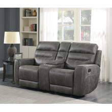 See Details - Sintra Charcoal Faux Leather Manual Reclining Loveseat