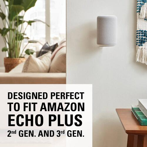 White Amazon Echo Plus (2nd Gen) and Amazon Echo (3rd Gen) Wall Mount