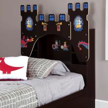 Vito - Bookcase Headboardwith Decals, Castle Themed, Chocolate, Twin