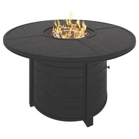 Castle Island Round Fire Pit Table Dark Brown