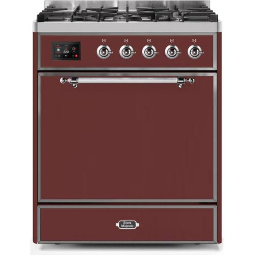 Ilve - Majestic II 30 Inch Dual Fuel Natural Gas Freestanding Range in Burgundy with Chrome Trim