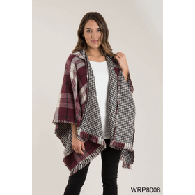 Plaid & Houndstooth Hooded Wrap (4 pc. ppk.)