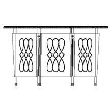 Mahogany semi circular three panel registration desk with fine inlays