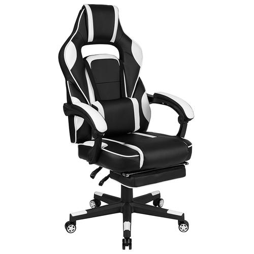 Gallery - Black Gaming Desk with Cup Holder\/Headphone Hook\/Monitor Stand & White Reclining Back\/Arms Gaming Chair with Footrest