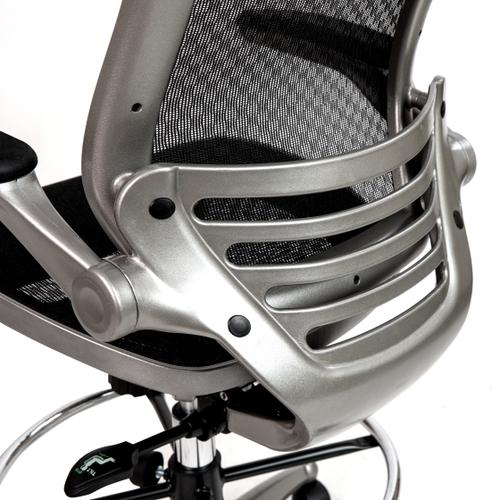 Gallery - Mid-Back Transparent Black Mesh Drafting Chair with Graphite Silver Frame and Flip-Up Arms
