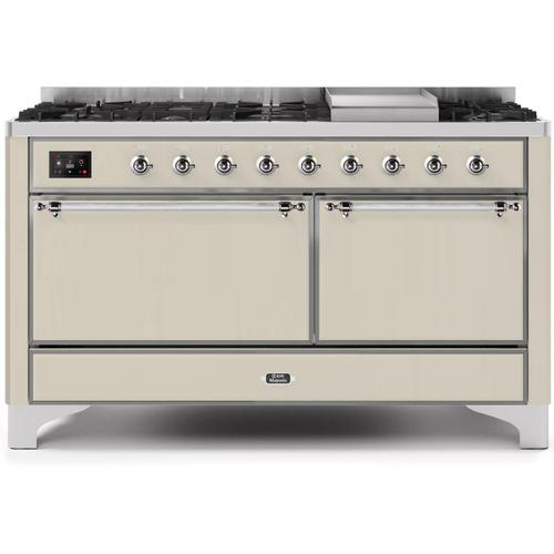 Gallery - Majestic II 60 Inch Dual Fuel Natural Gas Freestanding Range in Antique White with Chrome Trim