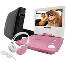 "7"" Swivel-Screen Portable DVD Player Bundle (Pink)"