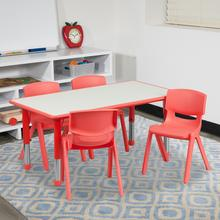 See Details - 23.625''W x 47.25''L Rectangular Red Plastic Height Adjustable Activity Table Set with 4 Chairs