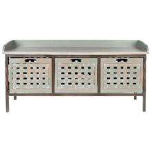 Isaac 3 Drawer Wooden Storage Bench - Ash Grey