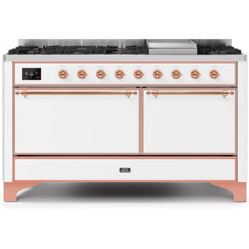 Ilve - Majestic II 60 Inch Dual Fuel Natural Gas Freestanding Range in White with Copper Trim
