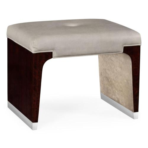 Dressing stool in grey leather