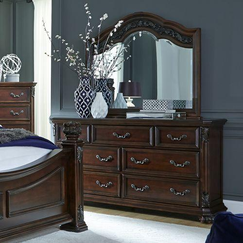 Liberty Furniture Industries - King Poster Bed, Dresser & Mirror, Chest