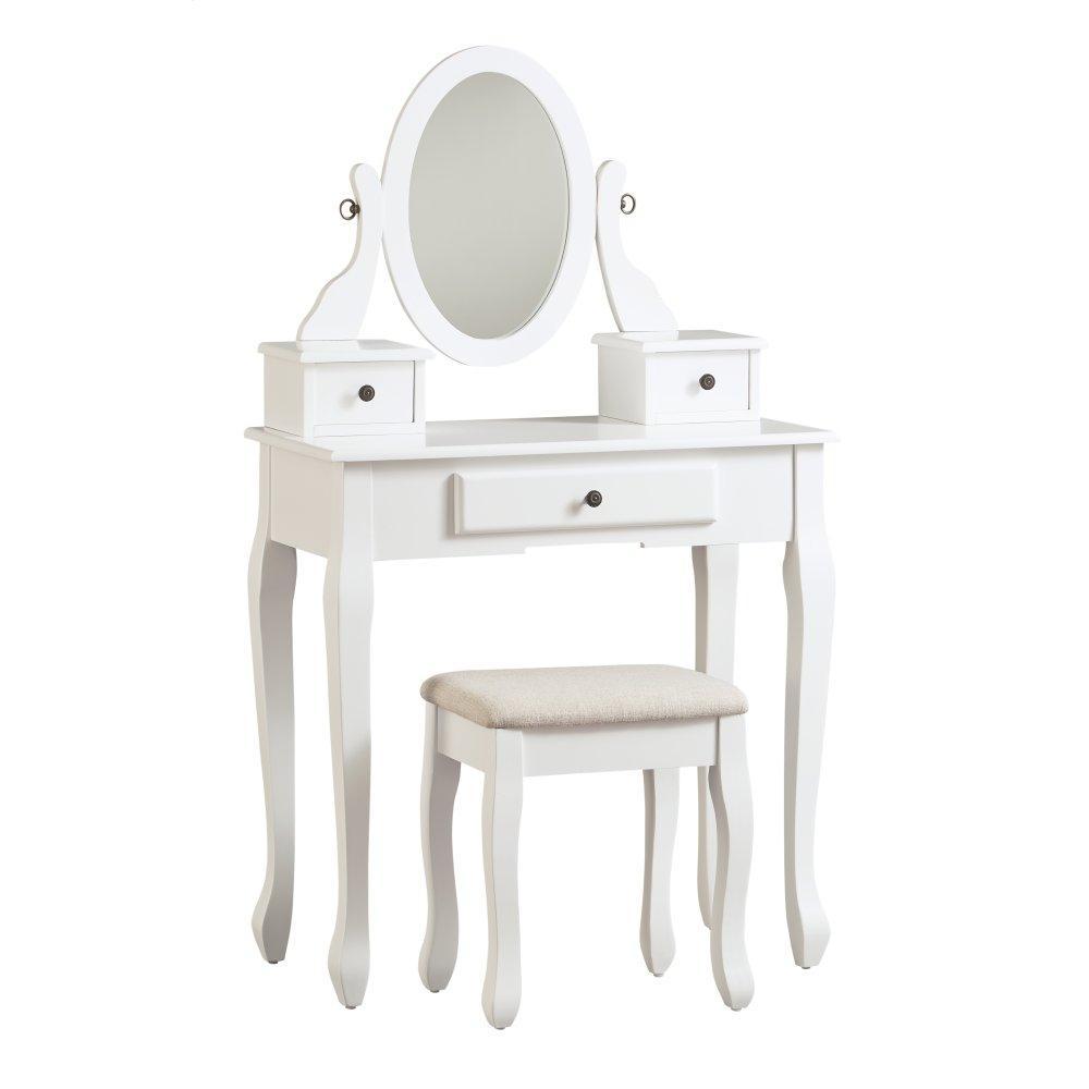 Kaslyn Vanity and Mirror With Stool