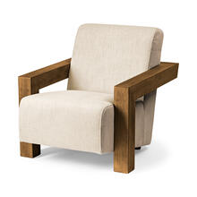 Sovereign II Cream Fabric Seat and Wood Frame Accent Chair