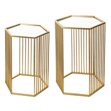 See Details - Gold Linear Hexagon Nested Table with Mirror Top (2 pc. set)