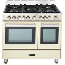"36"" Gas Double Oven Range Antique White 4"" B/G"