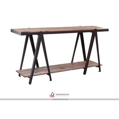 "65"" Wooden console with 2 Shelves with metal accents"