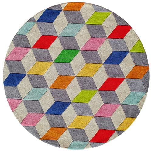 Lil Mo Hipster Cubes Lmt-15 Multi - 5.0 x 5.0 Round