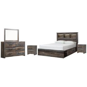 Queen Bookcase Bed With 4 Storage Drawers With Mirrored Dresser and 2 Nightstands