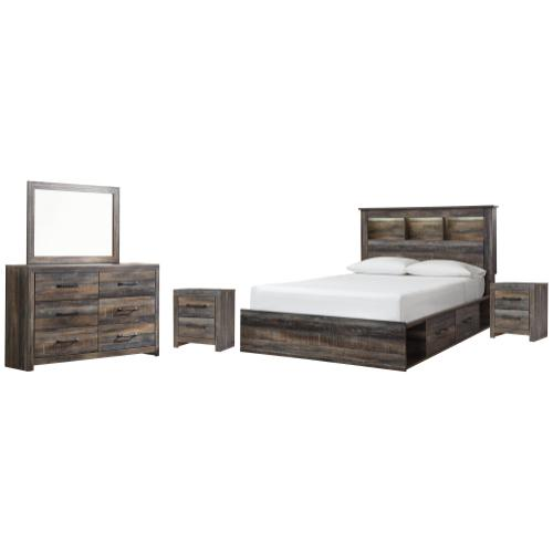 Ashley - Queen Bookcase Bed With 4 Storage Drawers With Mirrored Dresser and 2 Nightstands