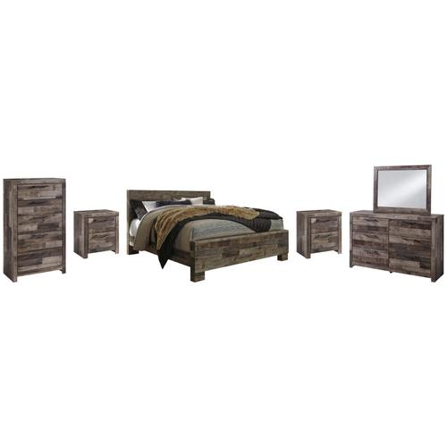 Product Image - King Panel Bed With Mirrored Dresser, Chest and 2 Nightstands