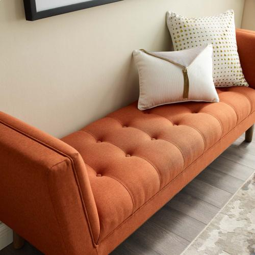 Modway - Haven Tufted Button Upholstered Fabric Accent Bench in Orange