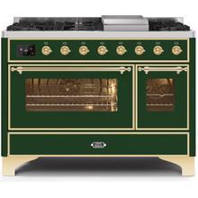 Majestic II 48 Inch Dual Fuel Liquid Propane Freestanding Range in Emerald Green with Brass Trim