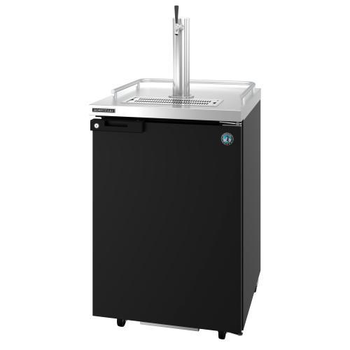 HDD-1-24, Refrigerator, Single Section, Black Vinyl Back Bar Direct Draw, Solid Door