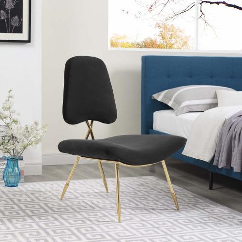 Ponder Performance Velvet Lounge Chair in Black