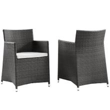 Junction Armchair Outdoor Patio Wicker Set of 2 in Brown White