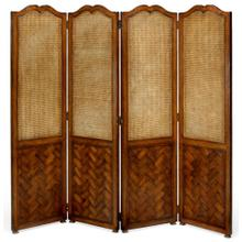 French caned & parquet four panel screen