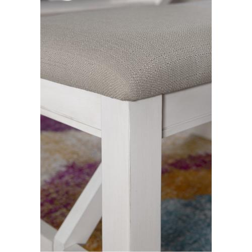 Upholstered Seat Bench, Distressed White