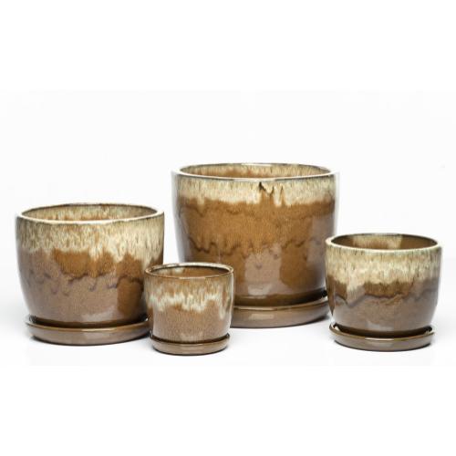 Sasha Planters, Cream Over Brown - Set of 4