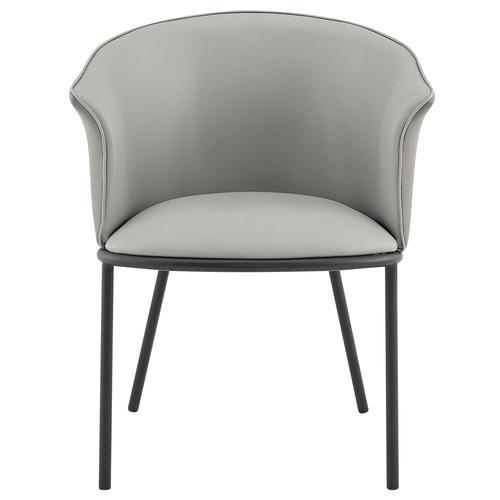 Seymor KD PU Dining Side Chair, Alpine Light Gray/ Alpine Dark Gray