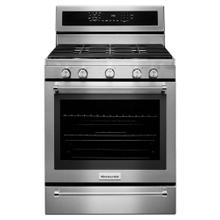 KitchenAid® 30-Inch 5 Burner Gas Convection Range with Warming Drawer - Stainless Steel