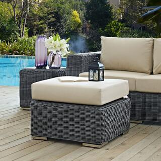 Summon Outdoor Patio Sunbrella® Ottoman in Canvas Antique Beige