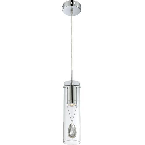 LED Mini-pendant, Chrome/clear Outer Glass/crystal,led 4wx1