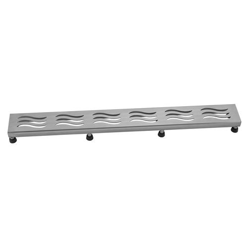"""Product Image - Brushed Stainless - 36"""" Channel Drain Wave Grate"""