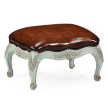 See Details - Small French provincial walnut footstool pale green