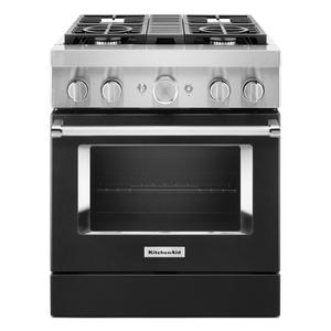KitchenAid® 30'' Smart Commercial-Style Dual Fuel Range with 4 Burners - Imperial Black Product Image