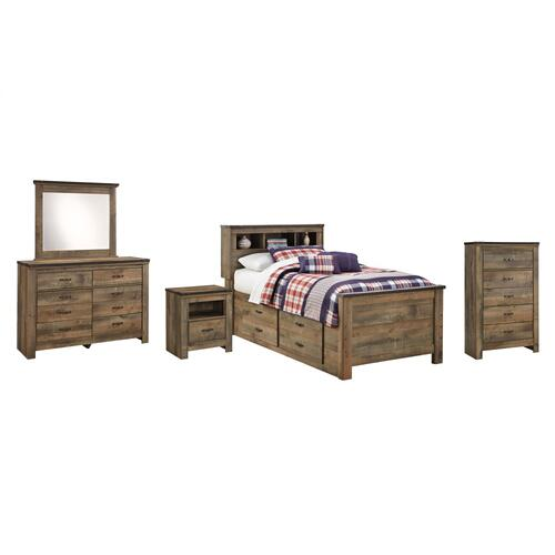 Twin Bookcase Bed With 2 Storage Drawers With Mirrored Dresser, Chest and Nightstand