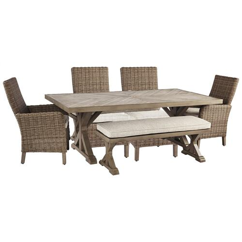 Ashley - Outdoor Dining Table and 4 Chairs and Bench