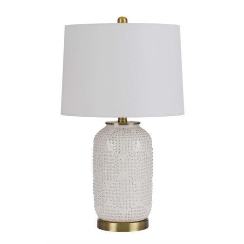 Cal Lighting & Accessories - 150W 3 way Sedalia ceramic table lamp with hardback fabric shade