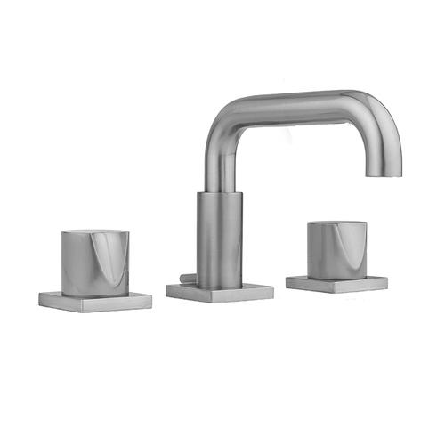 Satin Nickel - Downtown Contempo Faucet with Square Escutcheons & Thumb Handles- 0.5 GPM