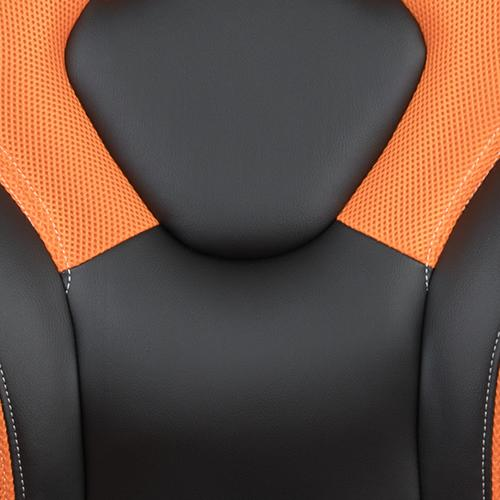 Flash Furniture - Gaming Desk and Orange\/Black Racing Chair Set \/Cup Holder\/Headphone Hook\/Removable Mouse Pad Top - 2 Wire Management Holes