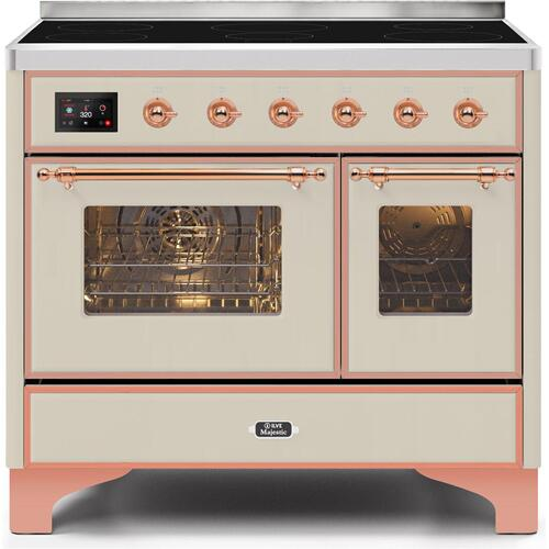 Ilve - Majestic II 40 Inch Electric Freestanding Range in Antique White with Copper Trim