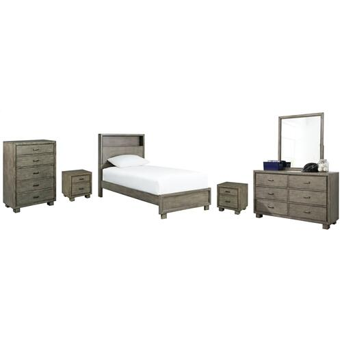 Ashley - Twin Bookcase Bed With Mirrored Dresser, Chest and 2 Nightstands