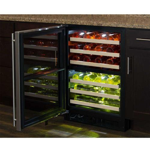 24-In Built-In High Efficiency Dual Zone Wine Refrigerator with Door Style - Stainless Steel Frame Glass, Door Swing - Left