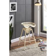 Armen Living Osbourne Adjustable Industrial Metal Barstool in Antique White finish